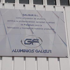 Certificado de Galisur, proveedor de aluminio